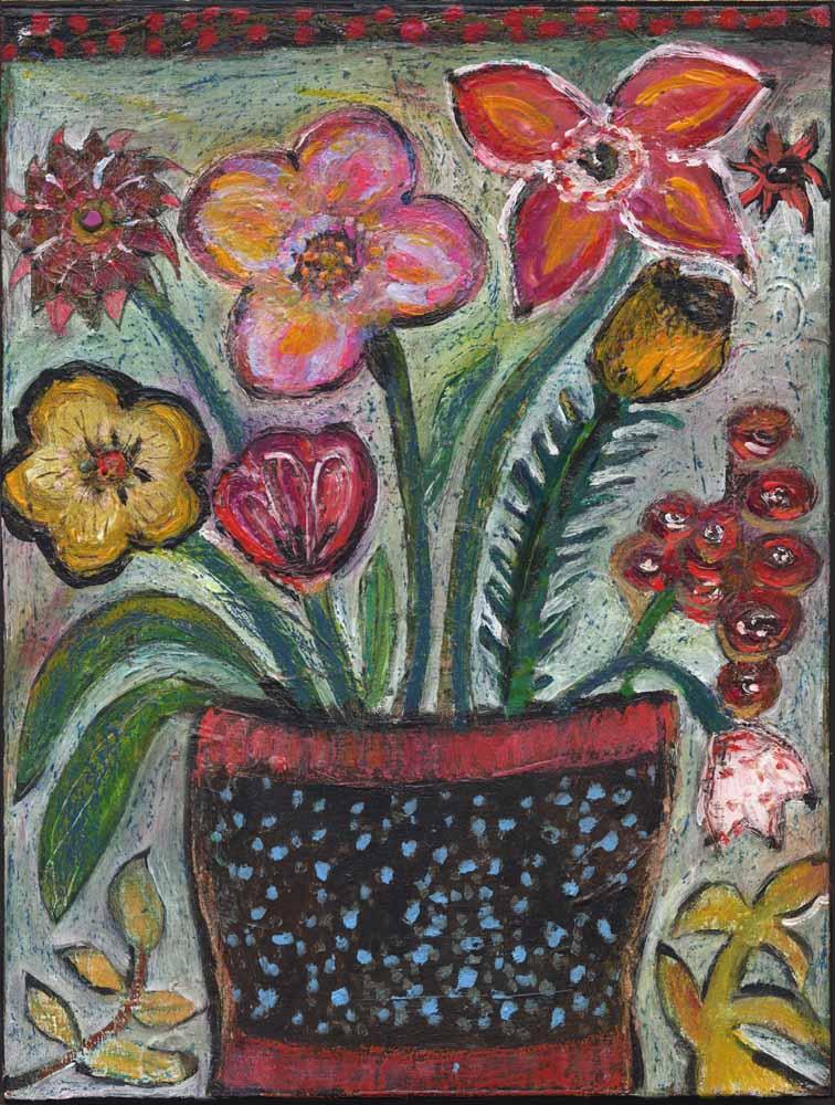 Jill Mayberg & Flowers Black Vase Painting